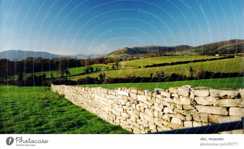 irische mauer Natur grün Wiese Berge u. Gebirge Mauer Landschaft Horizont Hügel Republik Irland