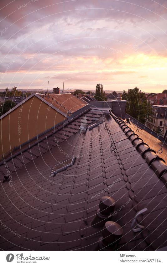 ...bis die wolken wieder lila sind... Sommer Einsamkeit Haus oben hoch Dach Aussicht violett Wolkenloser Himmel Abenddämmerung Dresden Schornstein Antenne
