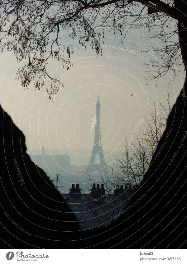 Hazy Paris Sightseeing Städtereise Frankreich Europa Stadt Hauptstadt Turm Sehenswürdigkeit Wahrzeichen Tour d'Eiffel Kraft Schwarzweißfoto Außenaufnahme