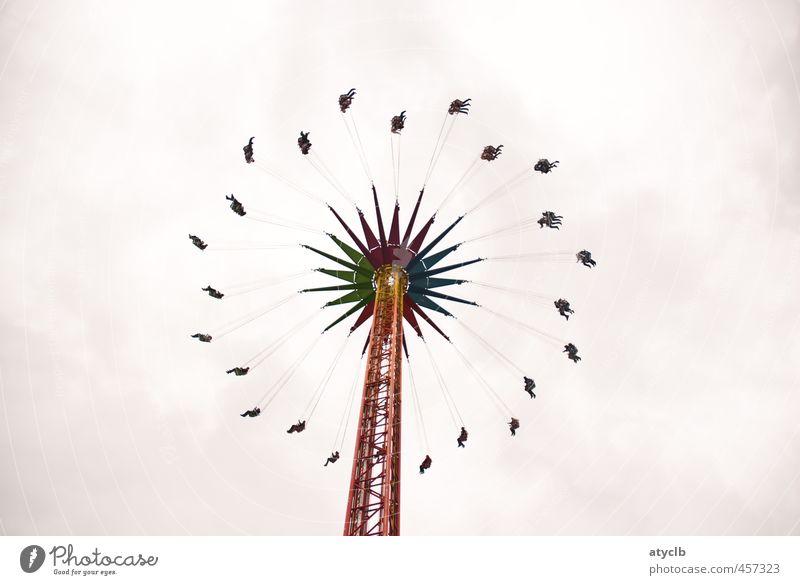 Flying High Erholung Freude grau Glück Feste & Feiern fliegen Freizeit & Hobby Lifestyle Sicherheit Risiko Vertrauen Höhenangst Jahrmarkt drehen Euphorie Oktoberfest