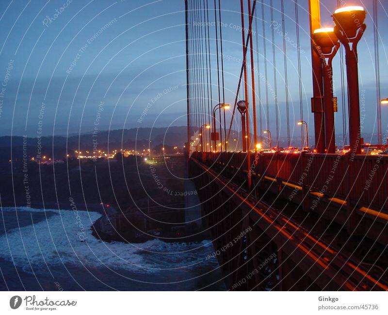 Golden Gate Golden Gate Bridge Nacht Langzeitbelichtung San Francisco Kalifornien Licht Brücke Wasser Abend