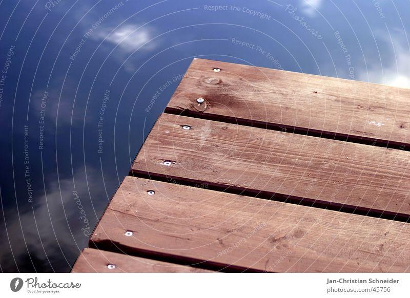 wasserbrett Wasser Himmel blau Wolken braun Handwerk Holzbrett