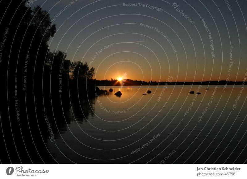 Schweden 2004 Wasser Himmel Baum Sonne Ferien & Urlaub & Reisen schwarz Stein