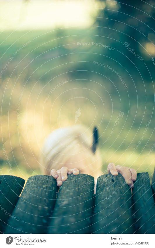 Indianer Spielen Mensch Kind Kleinkind Junge Kopf Finger 1 3-8 Jahre Kindheit blond Feder Balken Holz festhalten klein verstecken Farbfoto Gedeckte Farben