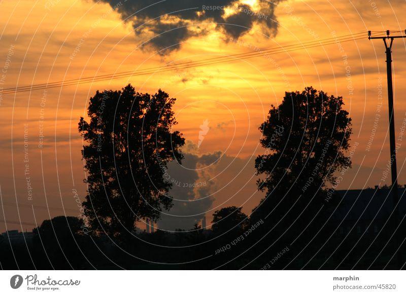 Abendhimmel001 Himmel Wolken Lichtspiel Stromkraftwerke Abendsonne