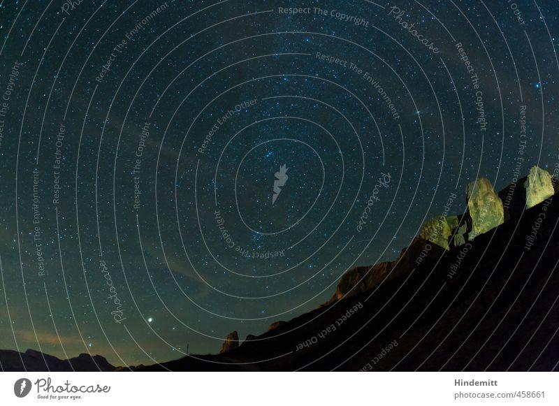 Unterm Sternenzelt (1): Sellatürme Himmel blau grün Sommer Wolken schwarz gelb dunkel Berge u. Gebirge grau Felsen orange glänzend groß stehen leuchten