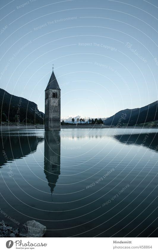 St. Katharina (1) Tourismus Sommer Schönes Wetter Hügel Alpen Berge u. Gebirge Gipfel Schneebedeckte Gipfel Wellen Küste Seeufer Reschensee Kirche Turm Bauwerk