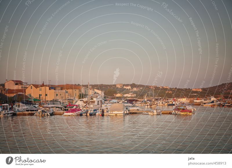 erinnerungsfoto Ferien & Urlaub & Reisen Tourismus Sommer Meer Landschaft Himmel Sonnenaufgang Sonnenuntergang Kroatien Dorf Haus Hafen Sportboot Motorboot