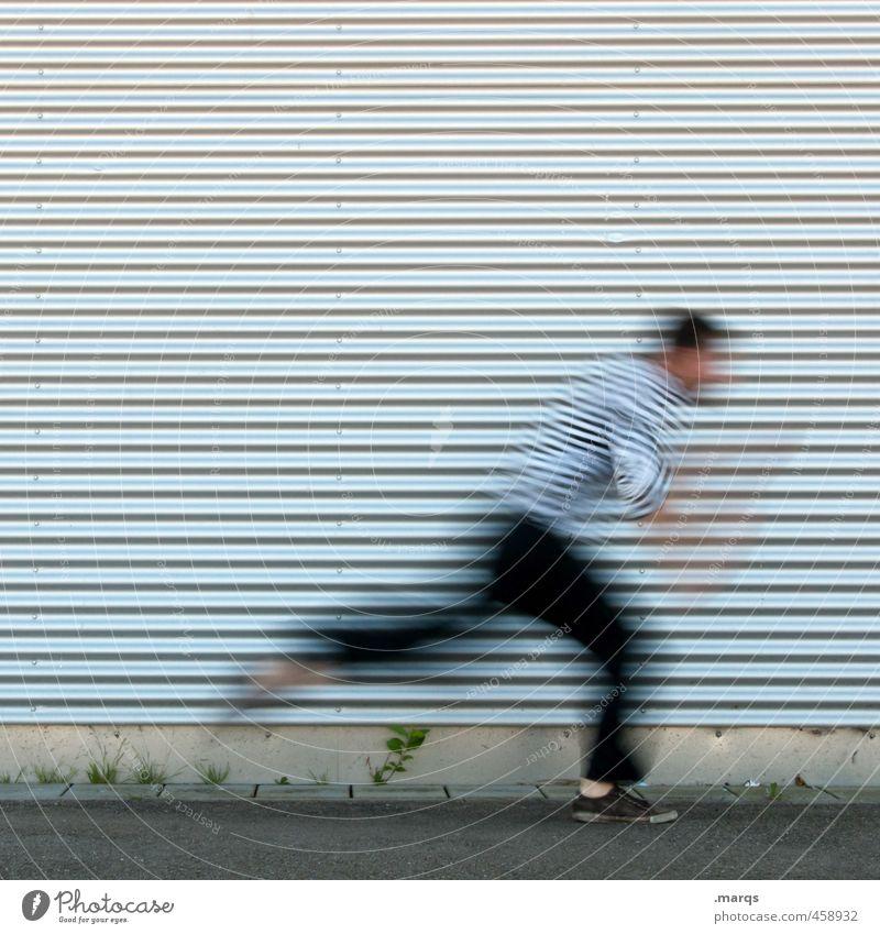 Zum Weglaufen Sport Mensch maskulin Junger Mann Jugendliche Körper 1 Fassade Streifen Bewegung rennen außergewöhnlich Geschwindigkeit Stress Wege & Pfade Ziel