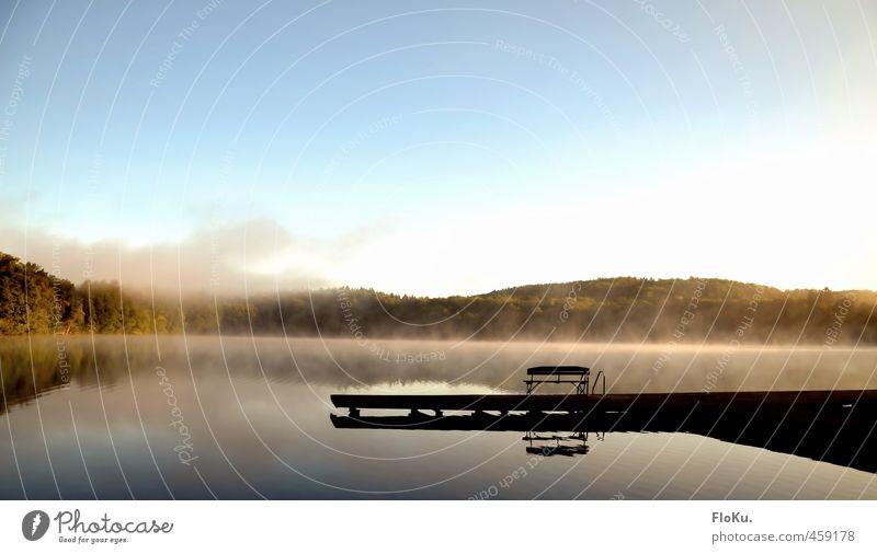 Stille am Morgen Ferien & Urlaub & Reisen Ferne Freiheit Sommer Sommerurlaub Umwelt Natur Landschaft Wasser Wolkenloser Himmel Sonnenaufgang Sonnenuntergang