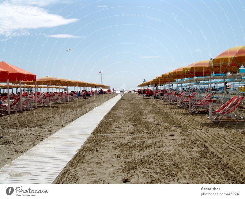 Einheitsurlaub Himmel Sonne Meer Sommer Strand Ferien & Urlaub & Reisen Sand Küste Italien Sonnenschirm gestaltbar