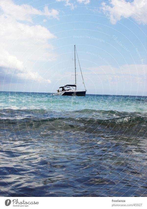 Segelschiff Wasser Himmel Sonne Meer blau Ferien & Urlaub & Reisen Wolken Wasserfahrzeug Kuba Segel