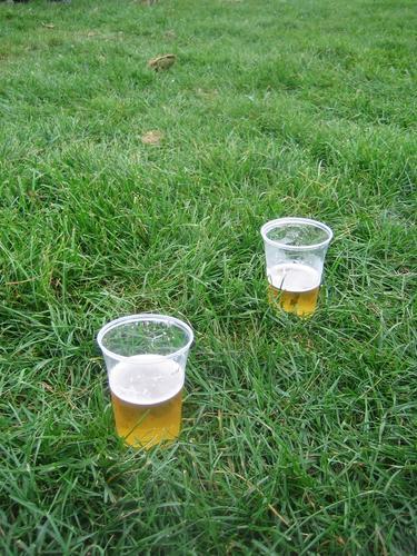 Bier auf Wiese Flüssigkeit schön Zusammensein Mann Wohlgefühl Außenaufnahme liquide Natur Gefühle Feldaufnahme Gastronomie Alkohol Glück Freude Feste & Feiern