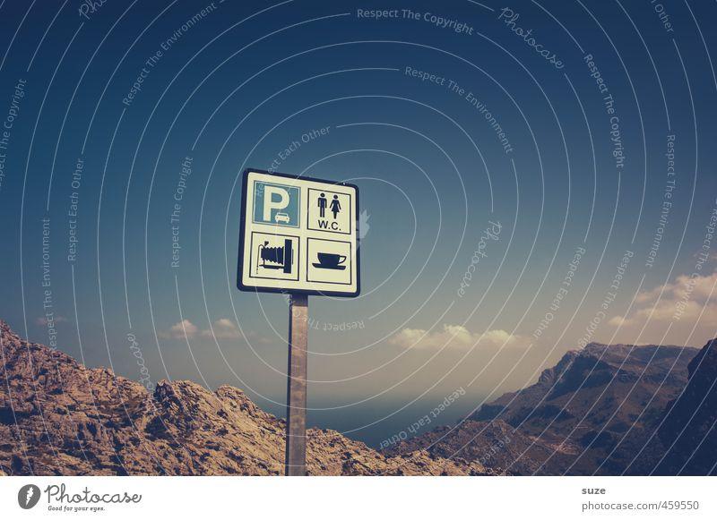 Anschaulich Ferien & Urlaub & Reisen Tourismus Sightseeing Meer Berge u. Gebirge Umwelt Natur Landschaft Himmel Küste Sehenswürdigkeit Schilder & Markierungen