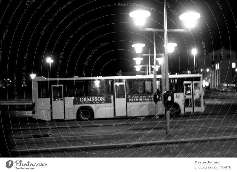 Bus Fahrzeug Straßenbeleuchtung Bushaltestelle Island Europa Lækjatorg Nacht dunkel ungemütlich Licht Müllbehälter anonym Außenaufnahme Nachtaufnahme