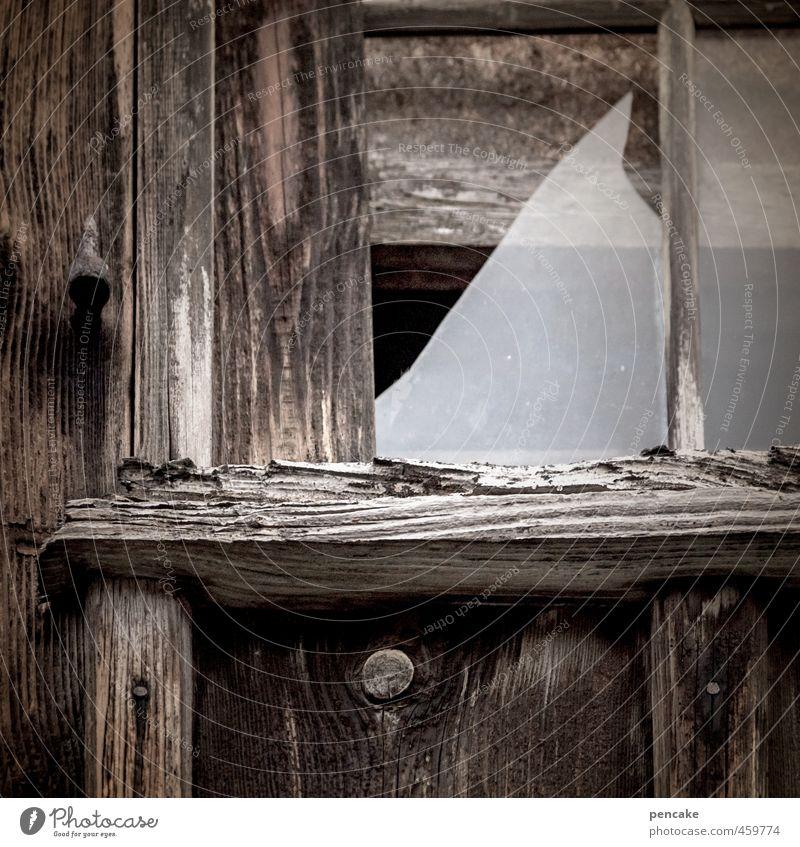 heul doch! | glück und glas Hütte Fenster Holz Glas Zeichen Armut authentisch kaputt klein Glück zerbrechlich Zerbrochenes Fenster dunkel alt weinen Holzhütte