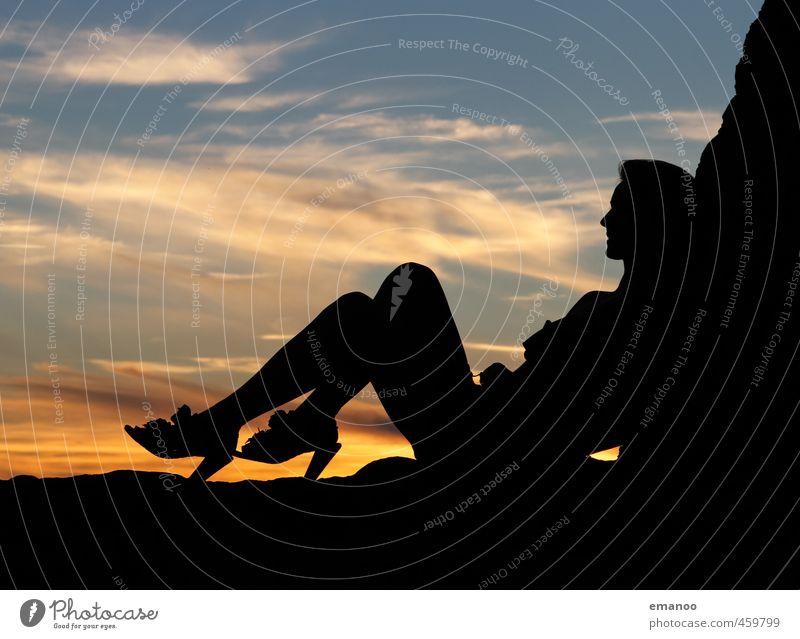 diese Schuhe Mensch Frau Himmel Natur Jugendliche Ferien & Urlaub & Reisen schön Erholung Junge Frau Freude Wolken schwarz Gesicht Erwachsene feminin Erotik