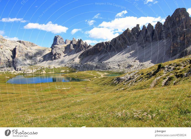Dolomiten Himmel Natur Ferien & Urlaub & Reisen blau grün Pflanze Sommer Sonne Erholung Landschaft Wolken Ferne Berge u. Gebirge Freiheit grau Felsen