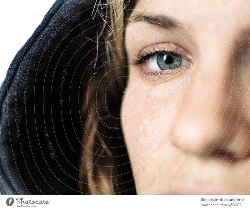 W A R U M ? ! ? ! feminin Junge Frau Jugendliche Leben Haare & Frisuren Gesicht Auge Nase 1 Mensch 18-30 Jahre Erwachsene blond Traurigkeit weinen blau grün