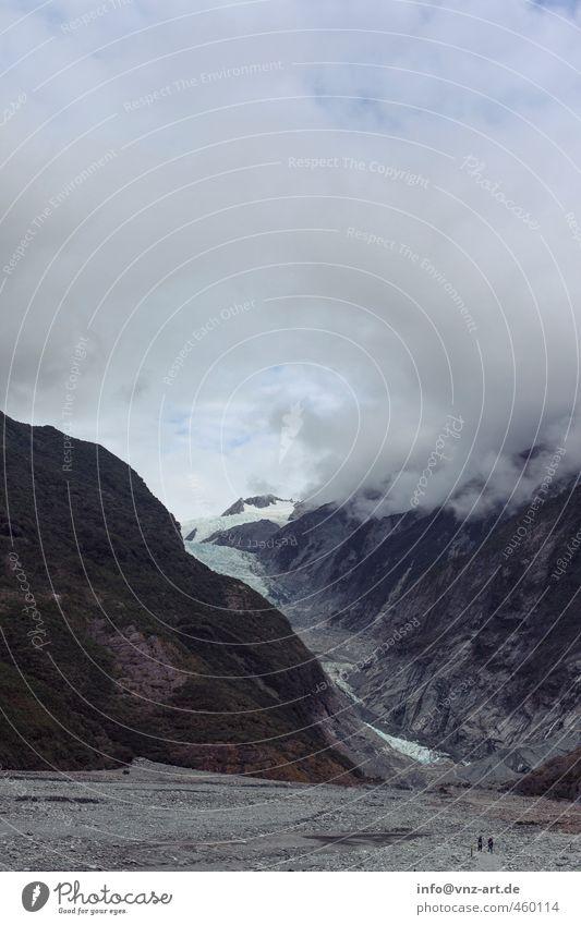 Fox Umwelt Natur Himmel Wolken Klima Klimawandel Wind Nebel Schnee Berge u. Gebirge Gipfel Schneebedeckte Gipfel Gletscher Schlucht Stein blau grau Neuseeland