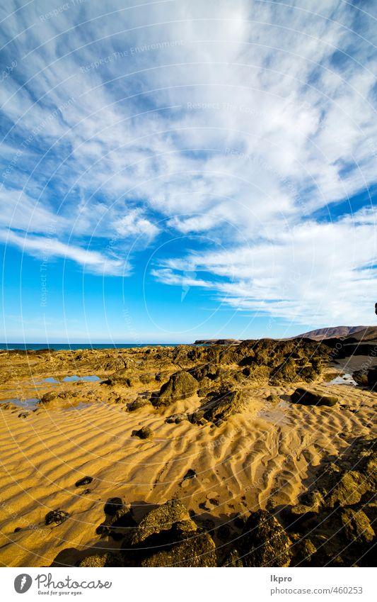 Himmel Natur Ferien & Urlaub & Reisen blau Sommer Meer Erholung Landschaft Wolken Strand gelb Küste Stein Sand Felsen braun