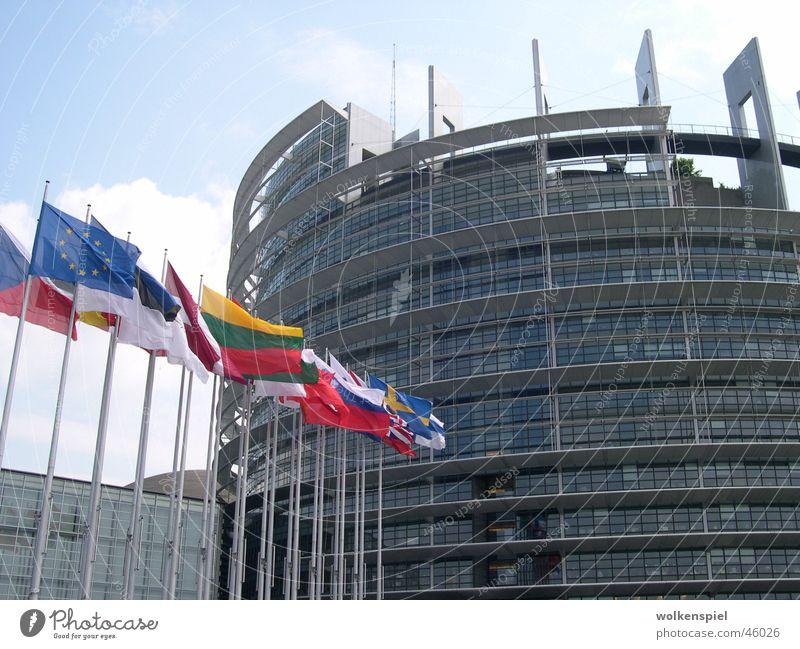European Parliament in Strasbourg Zusammensein Europa Fahne Straßburg Europäer Houses of Parliament