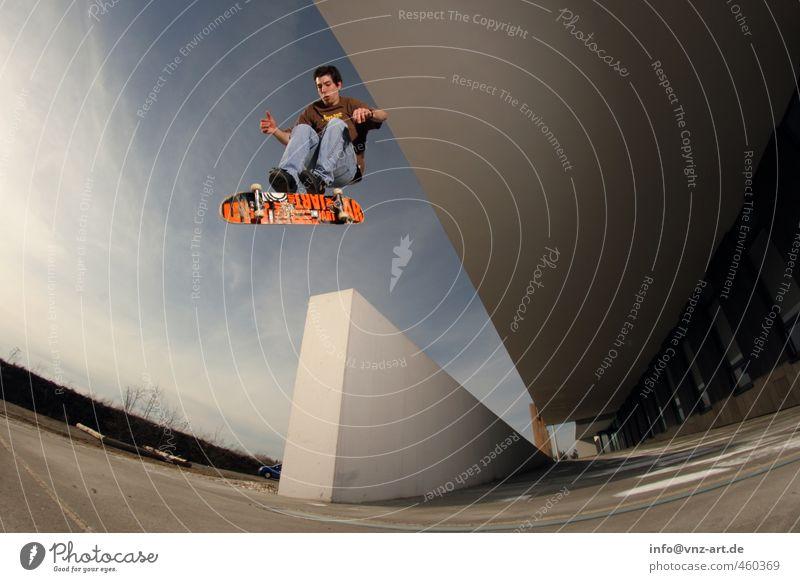 flip Sport Sportler Skateboard Skateboarding Trick Jump Mensch maskulin Junger Mann Jugendliche Erwachsene Leben 1 18-30 Jahre braun Salto Mauer springen Aktion