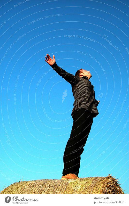 frei Mann Himmel Sonne blau Sommer schwarz Freiheit Feld Arme fliegen Engel stehen Hemd genießen Landwirtschaft