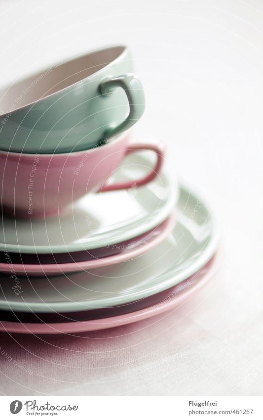 Ostern kann kommen! hell rosa Tasse Teller Stapel sortieren Gedeck gemischt Kaffeetrinken mint Geschirr Teetasse