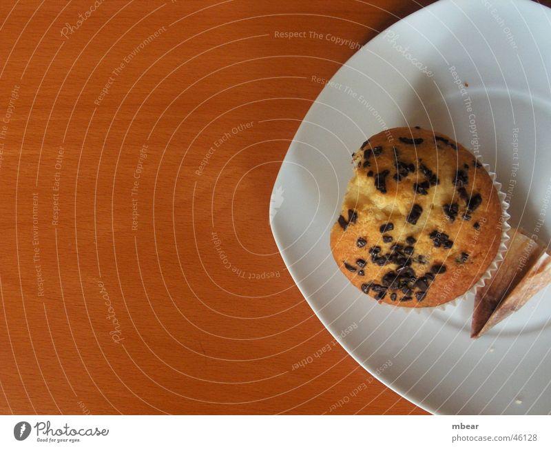 Muffins Teller Holz Tisch Kuchen Keks Teetrinken