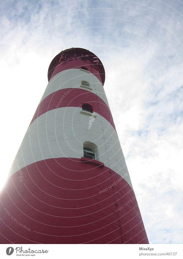 Leuchtturm rot-weiß Himmel Meer blau Ferien & Urlaub & Reisen Wolken Fenster Insel Aussicht Turm Nordsee Amrum
