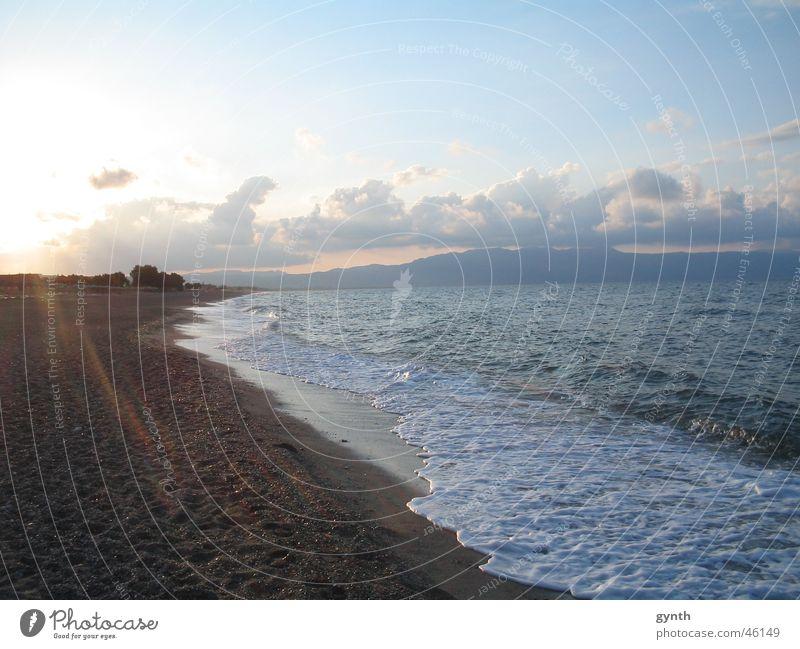 Ägäis am Abend Meer Wellen Ferien & Urlaub & Reisen Wolken Sonnenuntergang Stimmung Strand Wärme Gefühle Sand