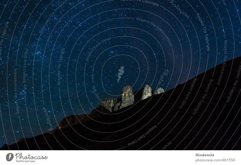 Unterm Sternenzelt (4): Sellatürme Urelemente Erde Luft Wolkenloser Himmel Nachthimmel Sommer Schönes Wetter Hügel Felsen Alpen Berge u. Gebirge Gipfel Stein