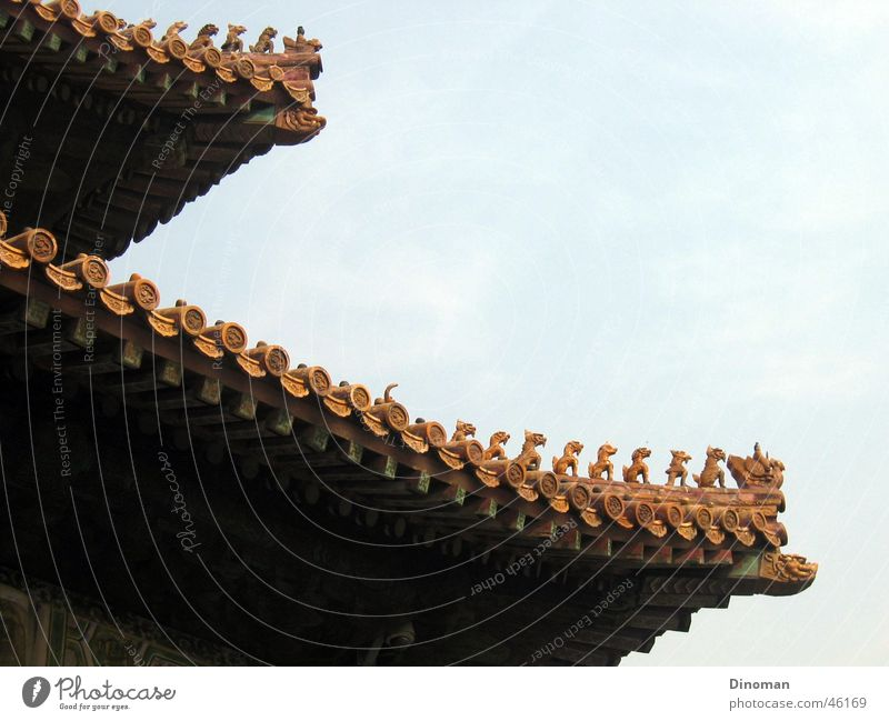 Dachgiebel in der verbotenen Stadt in Peking Tempel Palast Verbotene Stadt Schnitzereien schnitzen Backstein China Drache