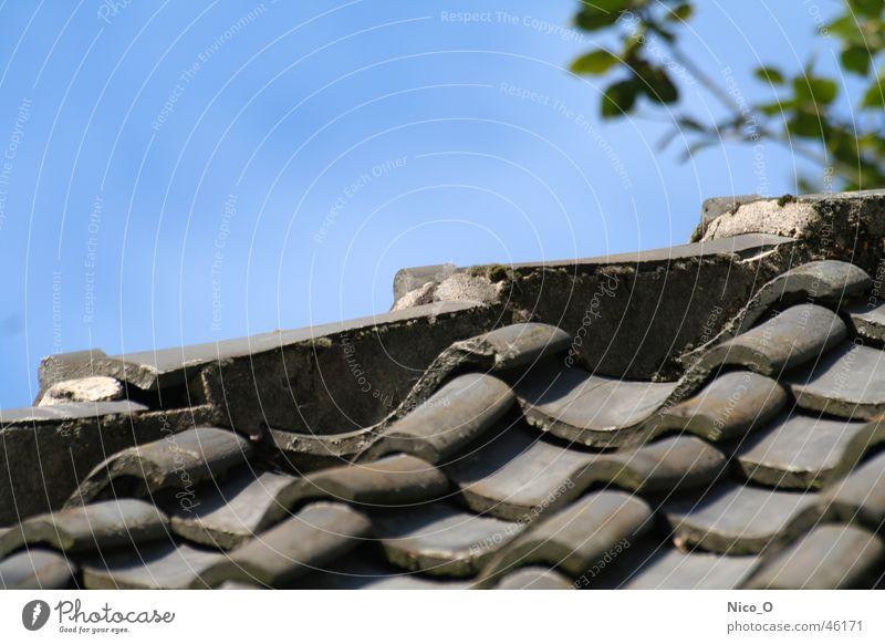 Altes Ziegeldach Dach Backstein Blauer Himmel