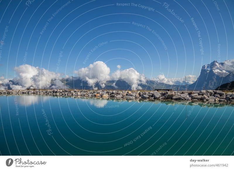 Mauer | Zwischen Himmel und Erde Natur blau alt Wasser weiß Sommer Landschaft Wolken Berge u. Gebirge Schnee Felsen Horizont Luft glänzend hoch