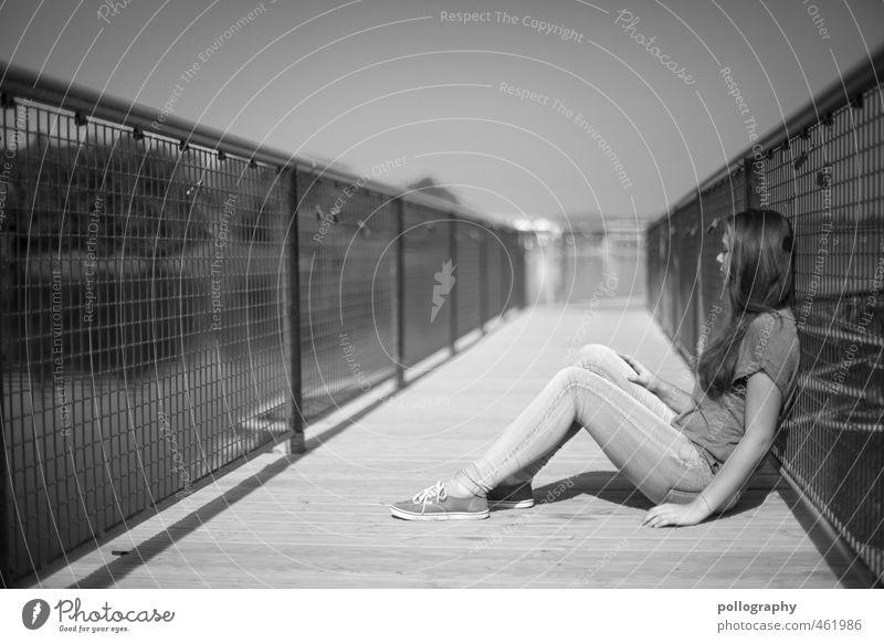 what's next II Lifestyle Mensch feminin Junge Frau Jugendliche Erwachsene Leben Körper 1 13-18 Jahre Kind 18-30 Jahre Sommer Schönes Wetter Baum Park See Brücke