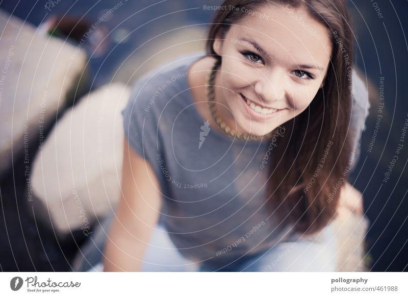 thx for the smile III Mensch feminin Junge Frau Jugendliche Erwachsene Leben Körper Kopf 1 13-18 Jahre Kind 18-30 Jahre Sommer Schönes Wetter Teich See brünett