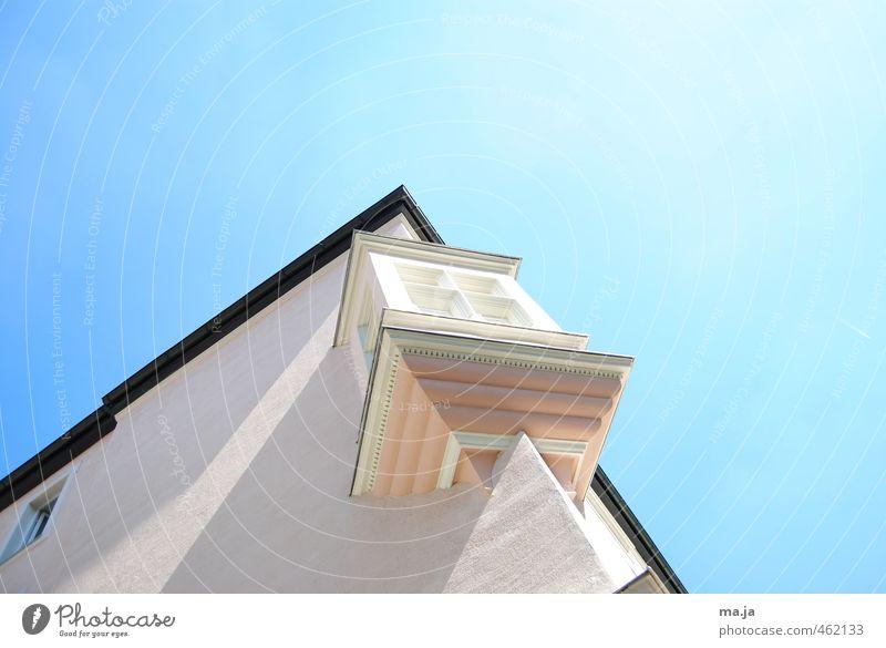angebaut (München, Waltherstraße III) Stadt Altstadt Haus Architektur Mauer Wand Erker blau rosa weiß Farbfoto Außenaufnahme Menschenleer Tag Licht Schatten