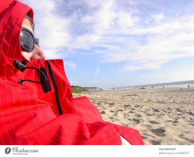 strand Mensch Himmel Meer rot Strand Sand Wind