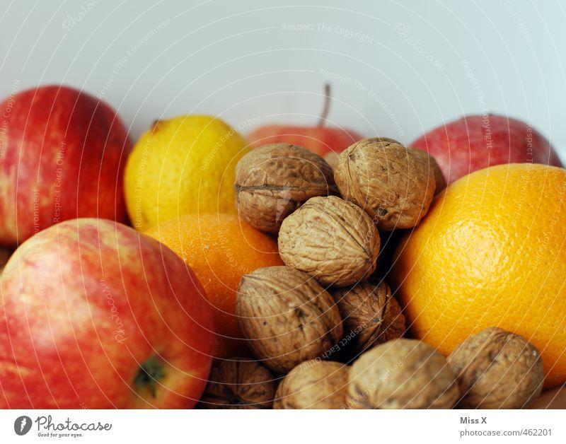 Weihnachtsmischung Lebensmittel Frucht Apfel Orange Ernährung Vegetarische Ernährung Weihnachten & Advent frisch Gesundheit lecker süß Walnuss