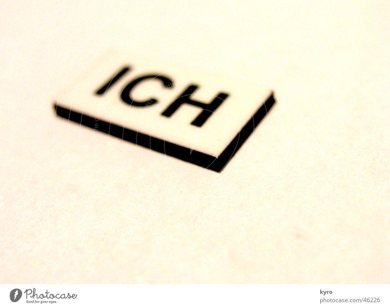 ich .... Buchstaben Typographie Magnet Wort Papier Schriftzeichen hell Metall Kunststoff