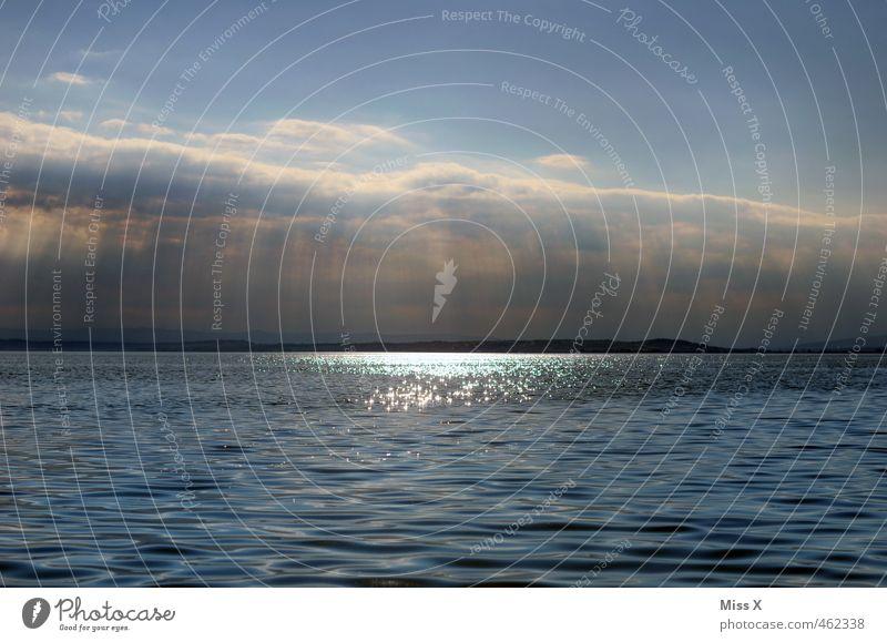Himmel Wasser Wolken Sonnenlicht Wetter Schönes Wetter Meer See leuchten glänzend Gefühle Stimmung Hoffnung Glaube Freiheit Horizont Religion & Glaube