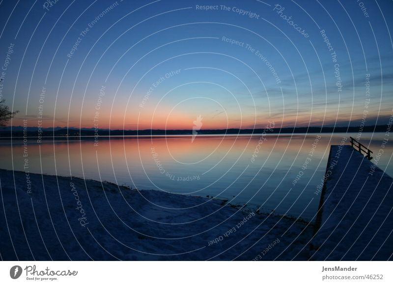 Starnberger See Steg Sonnenuntergang Winter ruhig Himmel Abend
