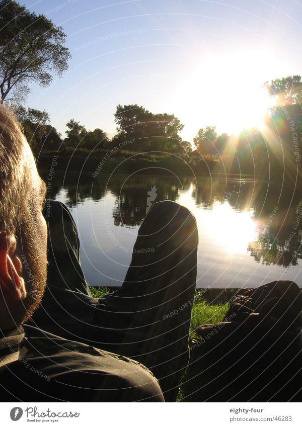 vondelpark Mensch Natur Himmel Sonne grün blau Sommer Erholung Wiese See Park Küste liegen Müdigkeit blenden bequem