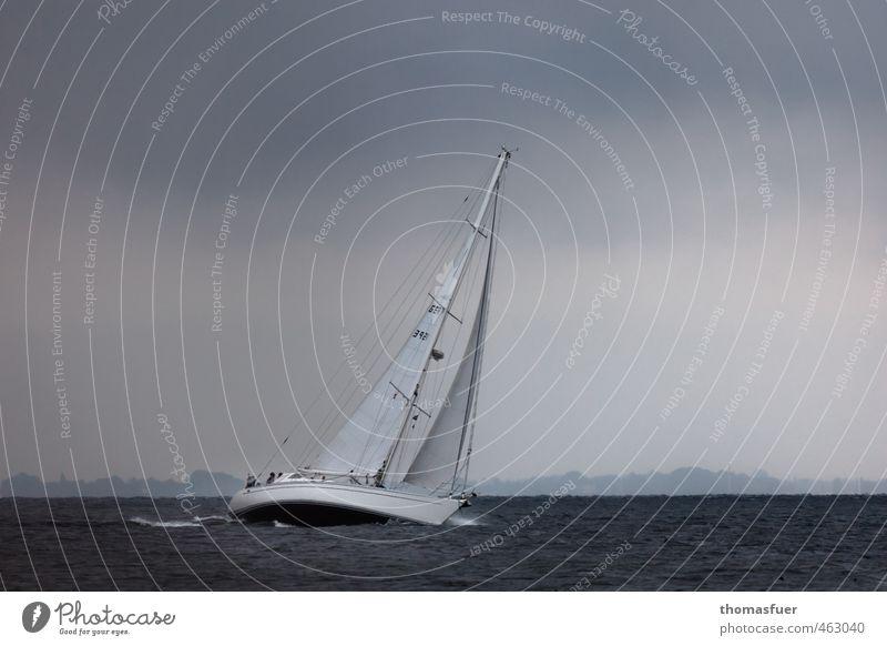 Surpise! Abenteuer Freiheit Sommer Meer Wellen Wassersport Segeln Himmel Wolken Gewitterwolken Horizont schlechtes Wetter Unwetter Wind Sturm Regen Küste Strand