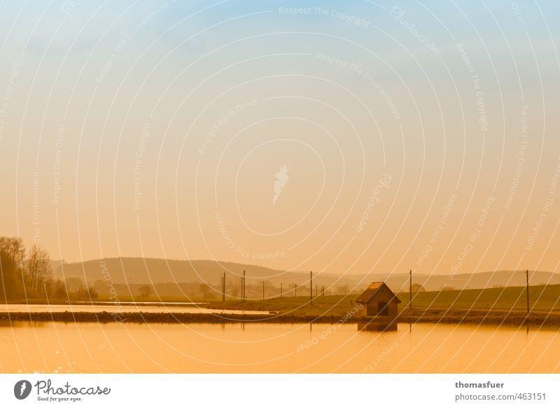 goldener Oktober Himmel Natur Wasser Farbe Baum ruhig Landschaft Ferne Herbst See Horizont Luft Feld Idylle wandern