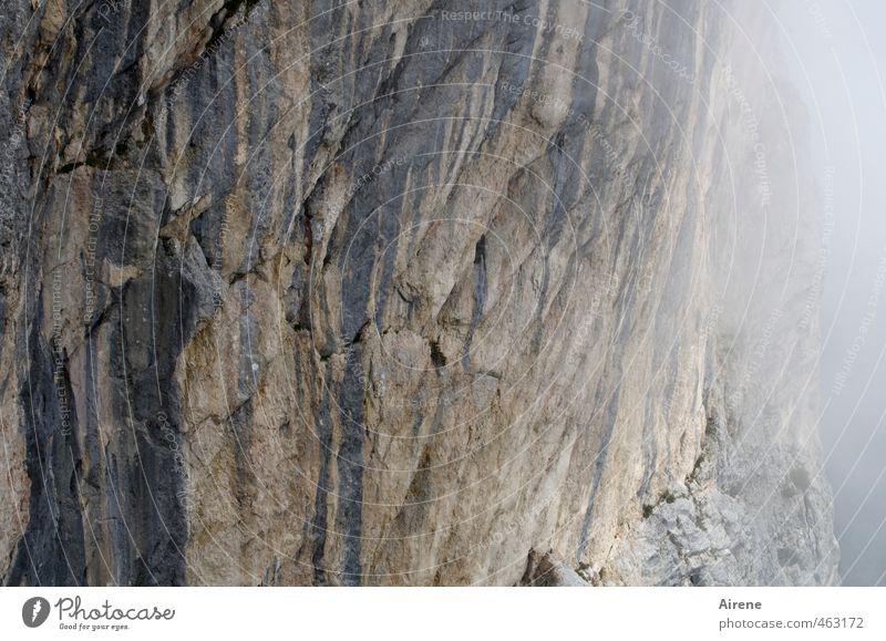 Runter kommt man immer Natur Ferien & Urlaub & Reisen Wolken Berge u. Gebirge grau Stein Felsen Freizeit & Hobby Nebel gefährlich Urelemente bedrohlich