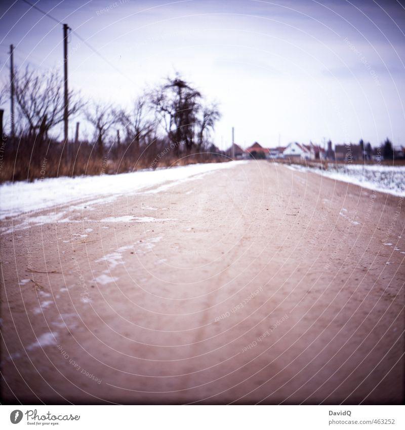 irgendwie Heimat Landschaft Winter Straße Schnee Wege & Pfade Dorf Verkehrswege analog Heimweh