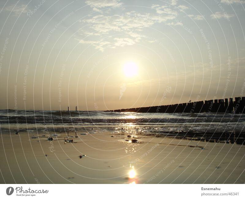 Freundliche Melancholie Strand dunkel Dämmerung Meer Wolken glänzend Licht Ferne See Sonnenuntergang Sonnenaufgang Horizont gelb rot weiß braun schwarz Himmel